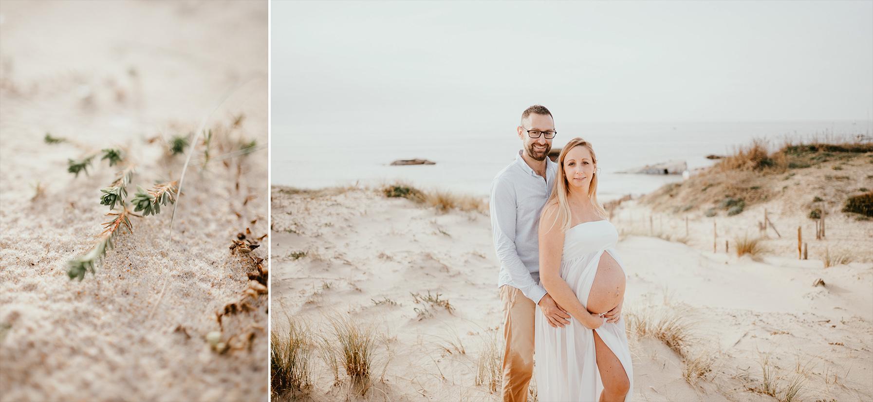Photographe grossesse landes plage famille capbreton
