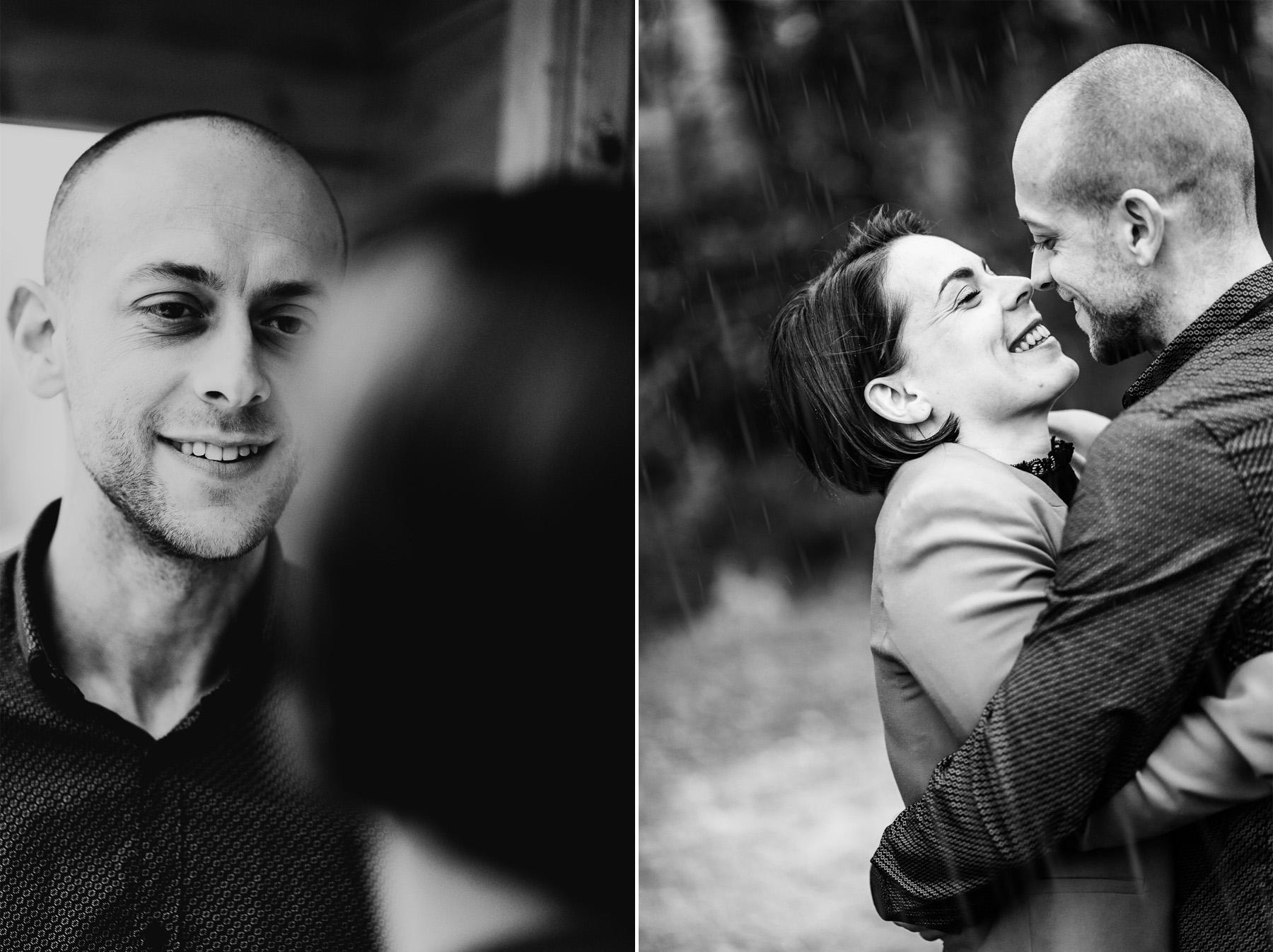 Shooting couple noir blanc photographe pluie 101